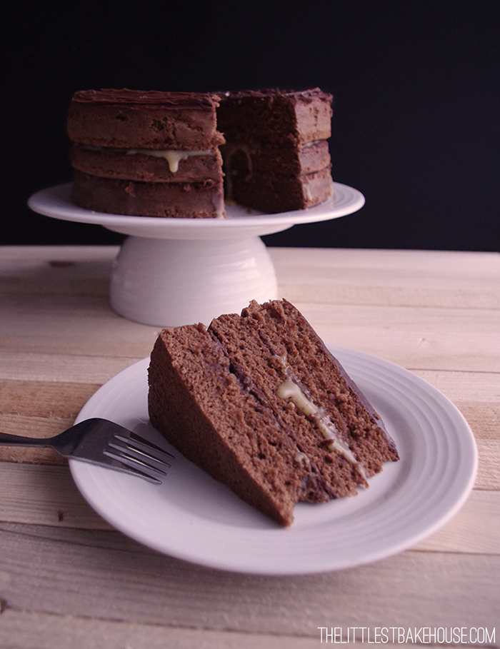 Salted Caramel Chocolate Layer Cake // The Dinner Bell