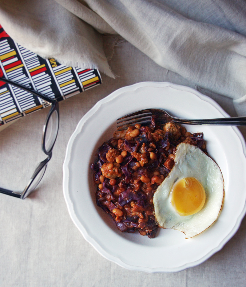 Quick spicy sausage & bean casserole // The Dinner Bell