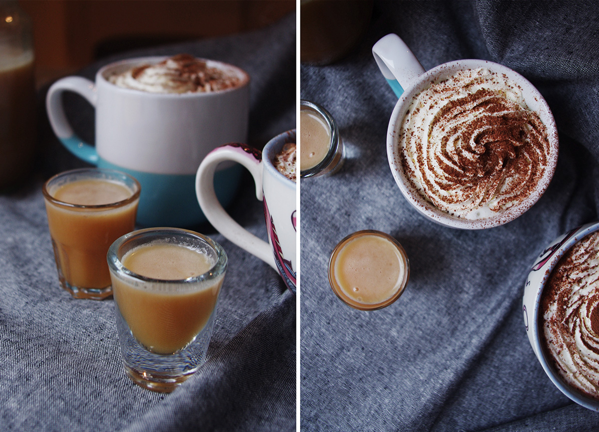 Caramel spiced rum hot chocolate // The Dinner Bell