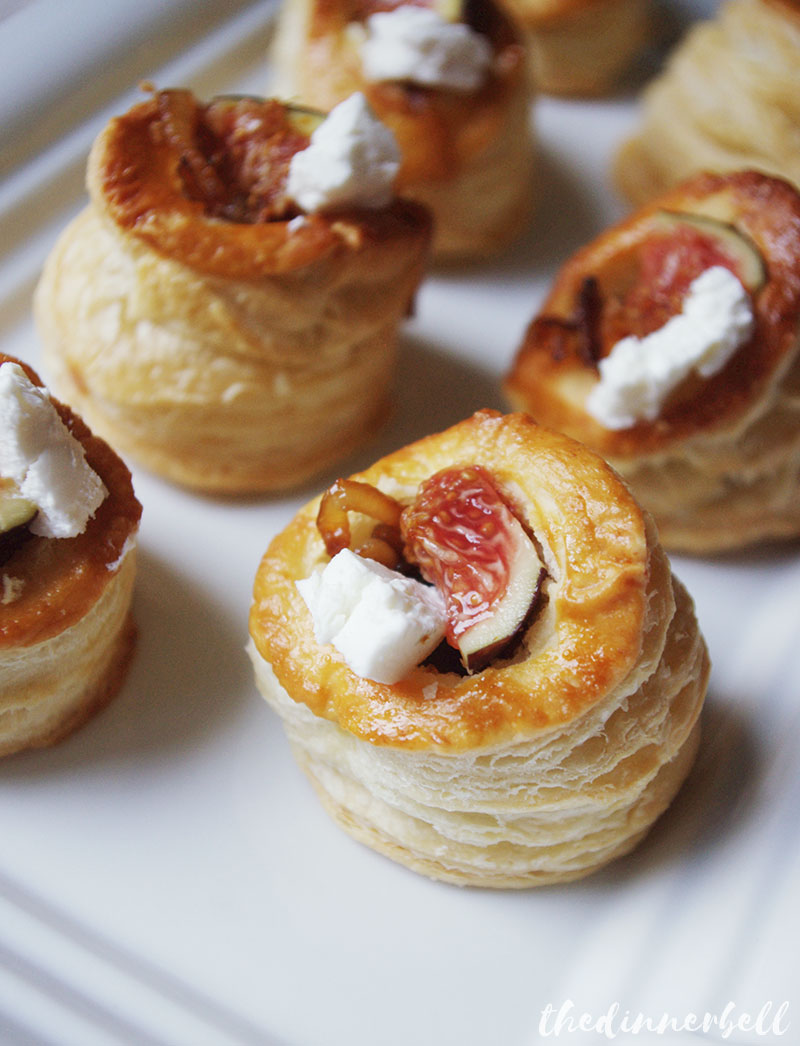 Fig and goats cheese vol au vents